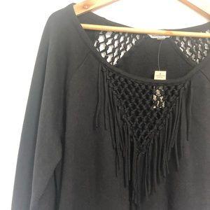 American Eagle Macrame Open Weave Sweatshirt